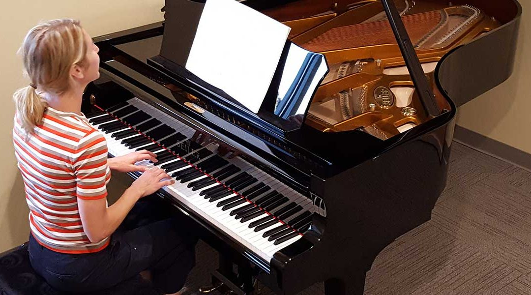 Brigitte Hulbert Learning piano in Brookfield Wisconsin. A mother learning piano